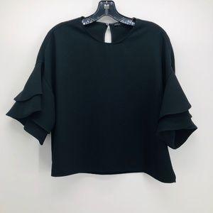 Zara Woman Black Crepe Double Ruffle Boxy Top